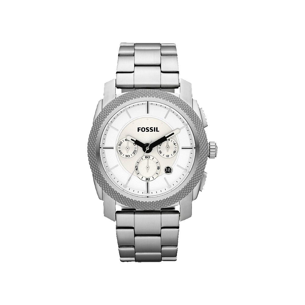 FOSSIL 星際時空三環運動計時腕錶-白/45mm