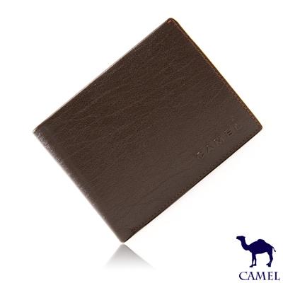CAMEL - 沉穩內斂系真皮款10卡2照可拆式左右翻短夾-內斂咖