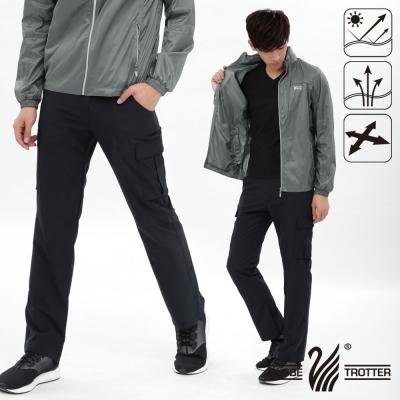 【遊遍天下】男款涼爽超顯瘦彈性多口袋吸濕排汗抗UV長褲P133黑色