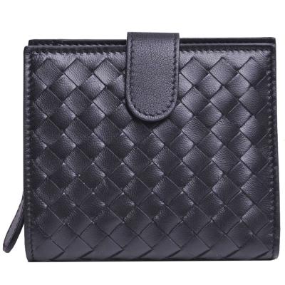 BOTTEGA VENETA經典羊皮編織圓皮拉鍊零錢袋釦式短夾(黑)