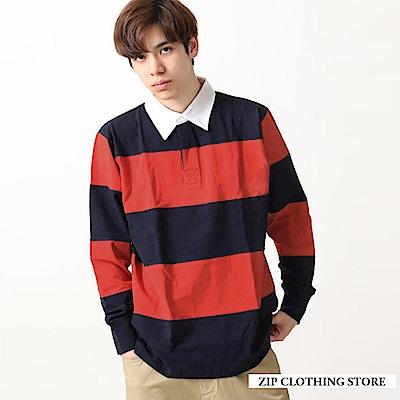 復古風粗條紋運動衫(3色) ZIP日本男裝