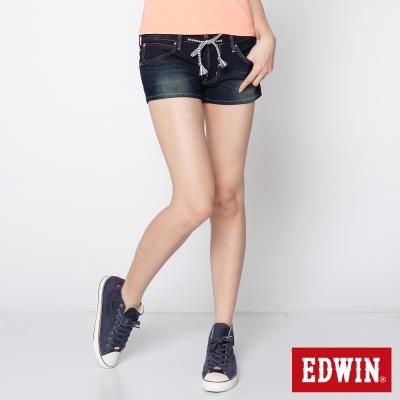 EDWIN 短褲 迦績褲JERSEYS針織牛仔褲-女-原藍磨