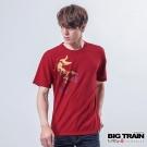 BIG TRAIN 墨達人紅日金鯉圓領T-男-紅色