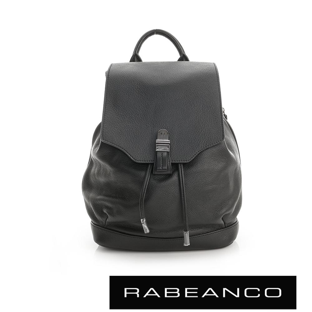 RABEANCO經典壓扣設計束口後背包黑