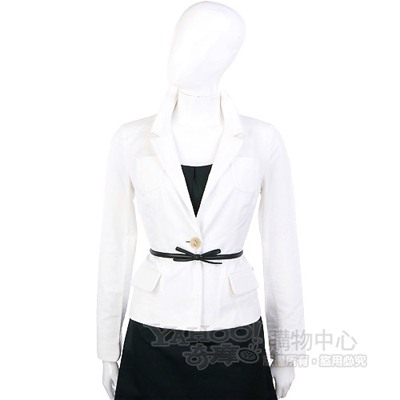 SCHUMACHER 白色立領西裝外套(不含腰帶)