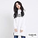 SOMETHING MOVE ON柔軟連帽長版T恤-女-白色