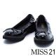 跟鞋 MISS 21 復古小蝴蝶結漆皮鬆緊帶低跟娃娃鞋-黑 product thumbnail 1