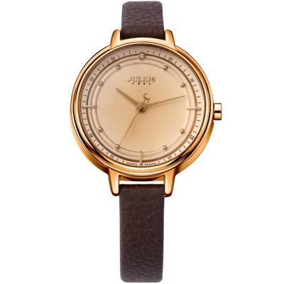 JULIUS聚利時 理想情人點鑽皮帶錶-香檳金x咖啡色/33mm