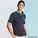 GIORDANO 男裝馬頭立體刺繡彈力萊卡短袖POLO衫-07 標誌海軍藍