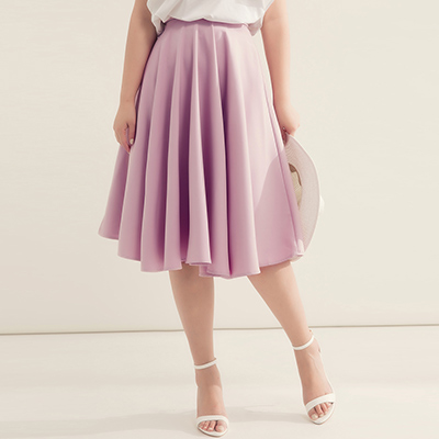 AIR SPACE PLUS 大波浪傘擺及膝圓裙(紫)