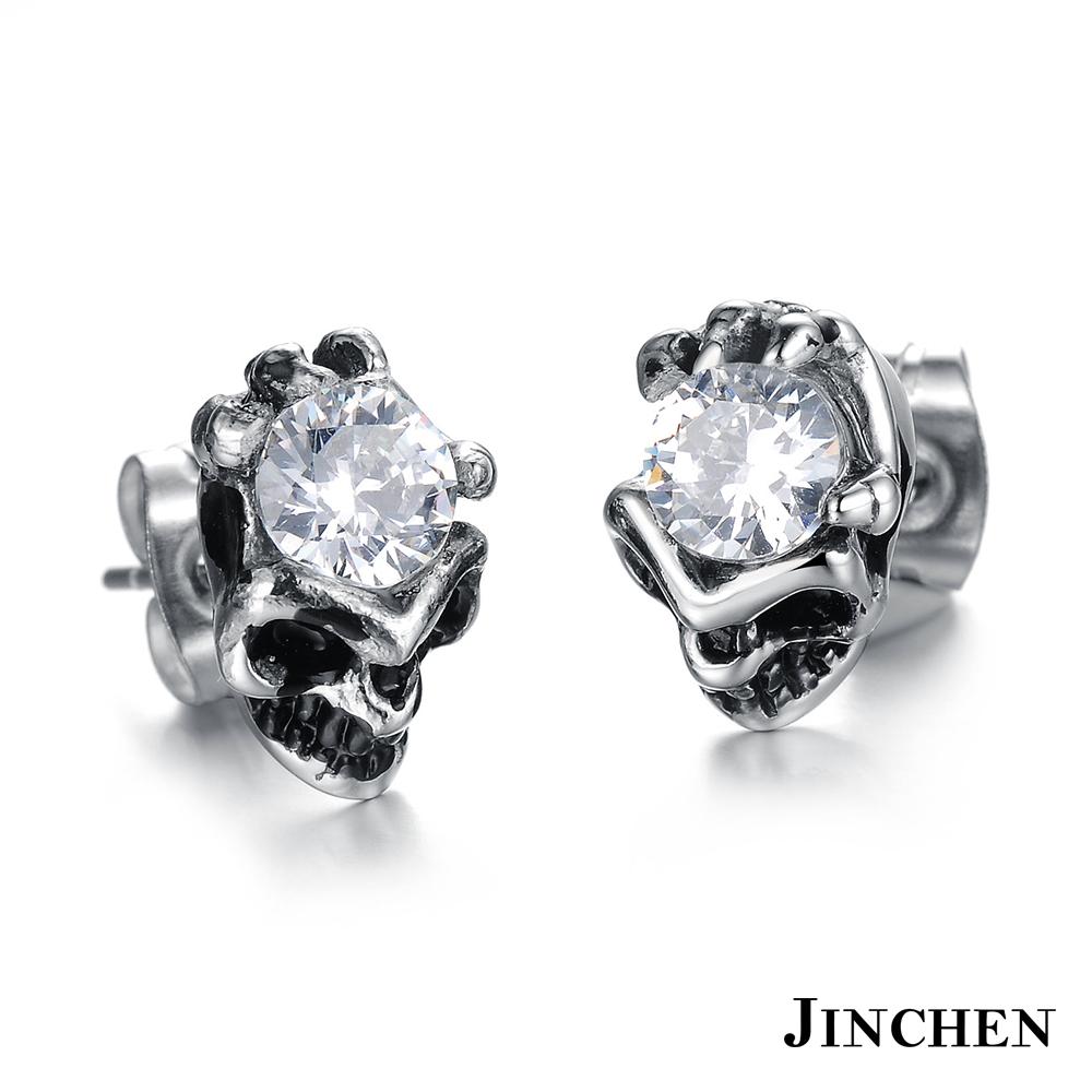 JINCHEN 白鋼骷顱耳環 白鑽(單個價)