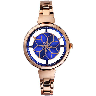 RELAX TIME RT-63系列 綻放腕錶(RT-63-6)-藍x玫/36mm