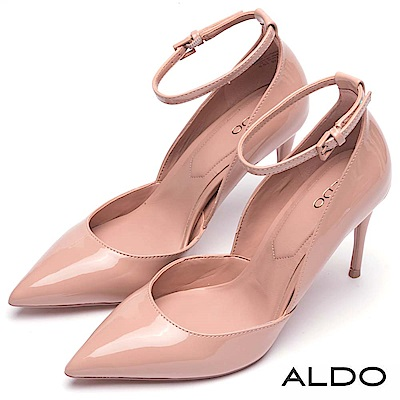 ALDO 原色方形釦帶繫踝尖頭高跟鞋~戀愛裸粉