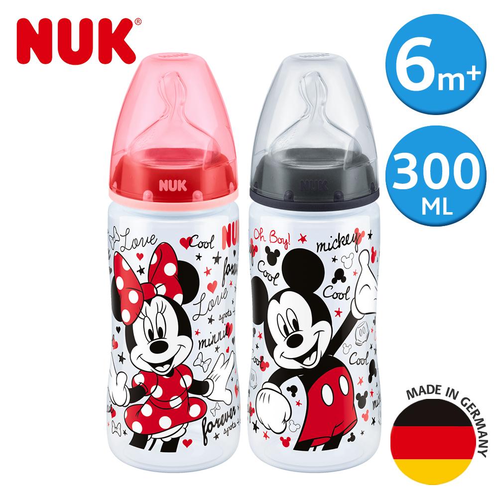 德國NUK-米奇寬口徑PP奶瓶300ml-附2號中圓洞矽膠奶嘴6m+(顏色隨機出貨)