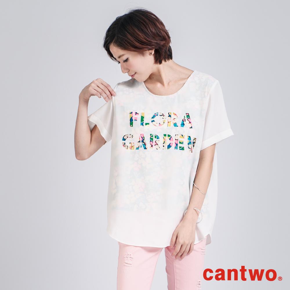 cantwo彩色割字半透視雪紡上衣(共二色)