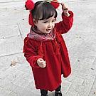 Baby unicorn 內刷絨紅色絲絨流蘇刺繡領 長袖洋裝