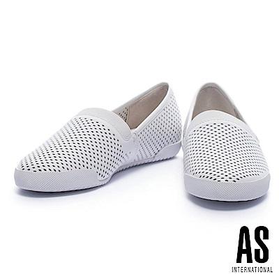休閒鞋 AS 簡約風菱形沖孔設計全真皮厚底休閒鞋-白