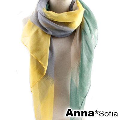 AnnaSofia 紛彩拼色 巴黎紗披肩圍巾(黃綠灰系)
