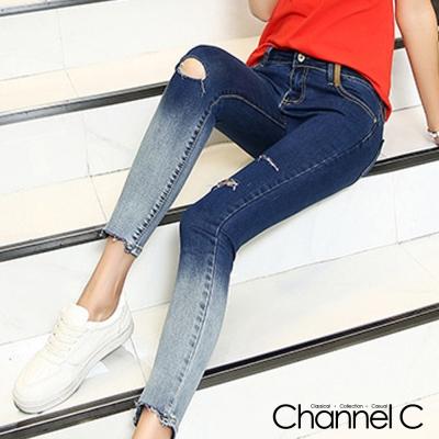 韓系刷破漸層設計九分牛仔褲-Channel-C