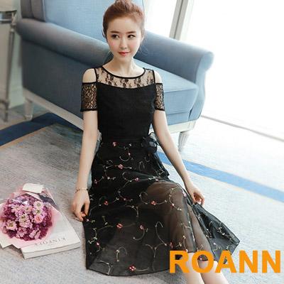 露肩花朵刺繡網紗洋裝 (黑色)-ROANN