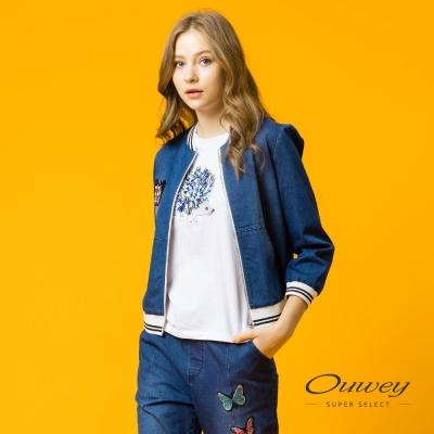 OUWEY歐薇 率性刺繡牛仔棒球外套(藍)