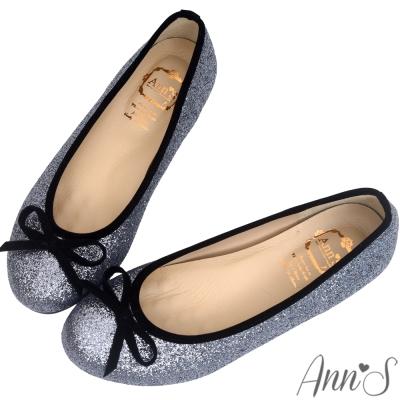 Ann'S閃耀名媛-碎石亮片蝴蝶結平底娃娃鞋-銀灰