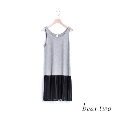 beartwo 拼接雪紡百摺短版背心洋裝(二色)