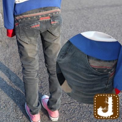 正韓 美式仿舊窄管丹寧垮褲-(水洗藍)100%Korea Jeans