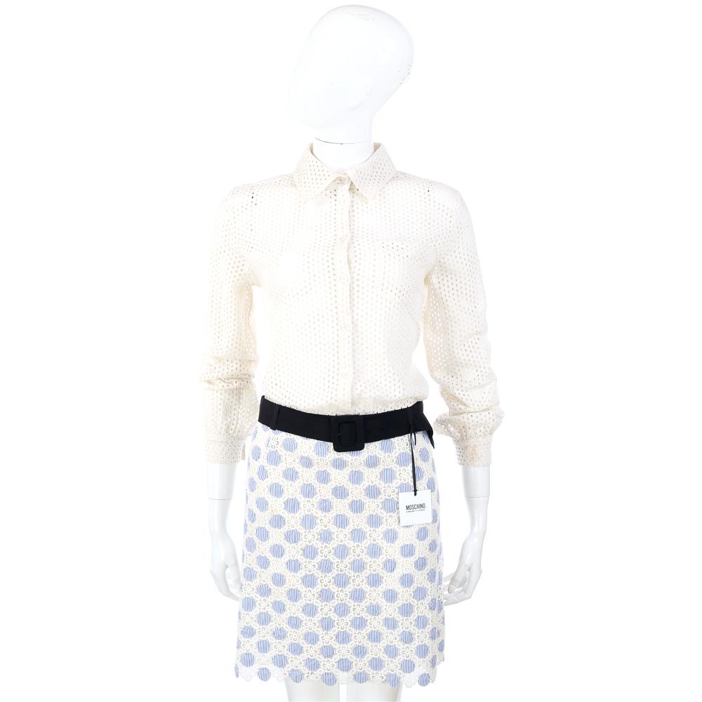 MOSCHINO 波卡圓點蕾絲襯衫洋裝(附腰帶)