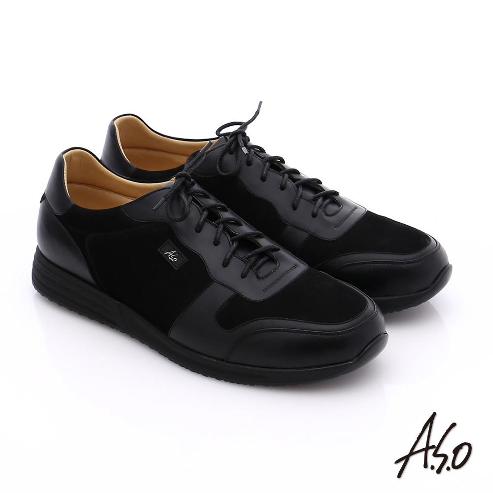 A.S.O 輕量抗震 牛皮拼接綁帶氣墊休閒鞋 黑