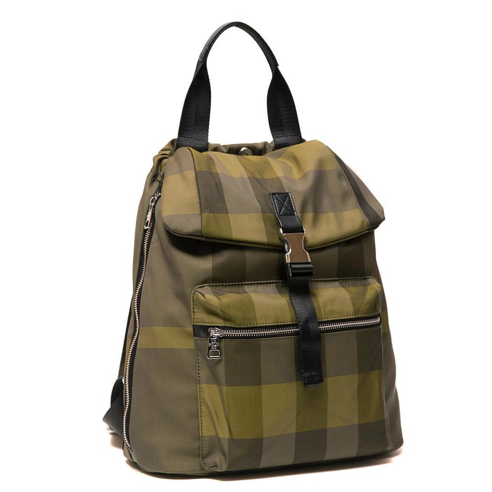 ANGIMI SHOP 後背手提熱銷格紋雙造型包-綠格