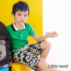 Little moni 迷彩水洗大口袋工作褲 迷彩藍
