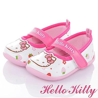 HelloKitty 草莓系列 舒適減壓抗菌防臭防滑娃娃童鞋-白