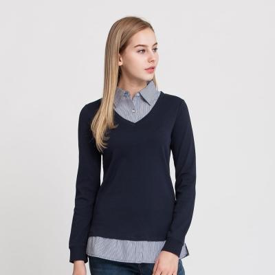 Hang Ten - 女裝 - 學院風條紋拼接POLO衫 - 藍
