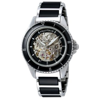 【Folli Follie】雙面時尚陶瓷機械錶(黑)