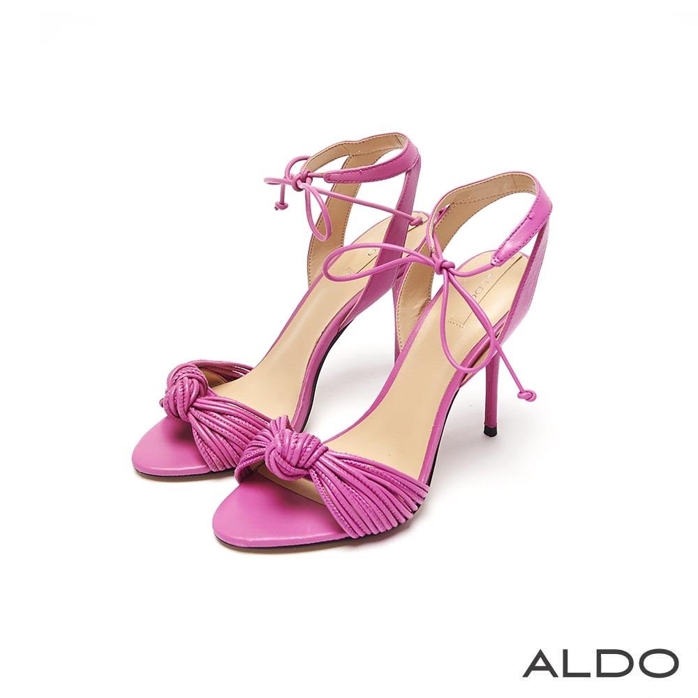 ALDO 靚色真皮蝴蝶紐結綁帶高跟涼鞋~嬌嫩粉色