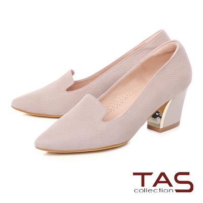 TAS 復古蛇紋金屬樂福高跟鞋-輕感膚