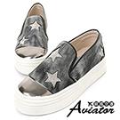 Aviator*韓國空運-正韓製金屬仿舊星星厚底懶人鞋-灰