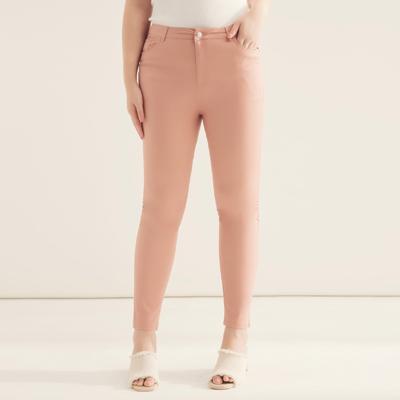 AIR SPACE PLUS 中大尺碼 舒適彈力修身多色長褲(粉紅)!