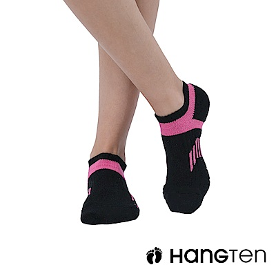 HANG TEN 船型氣墊機能襪3雙入組(女)_黑粉(HT-A23002)