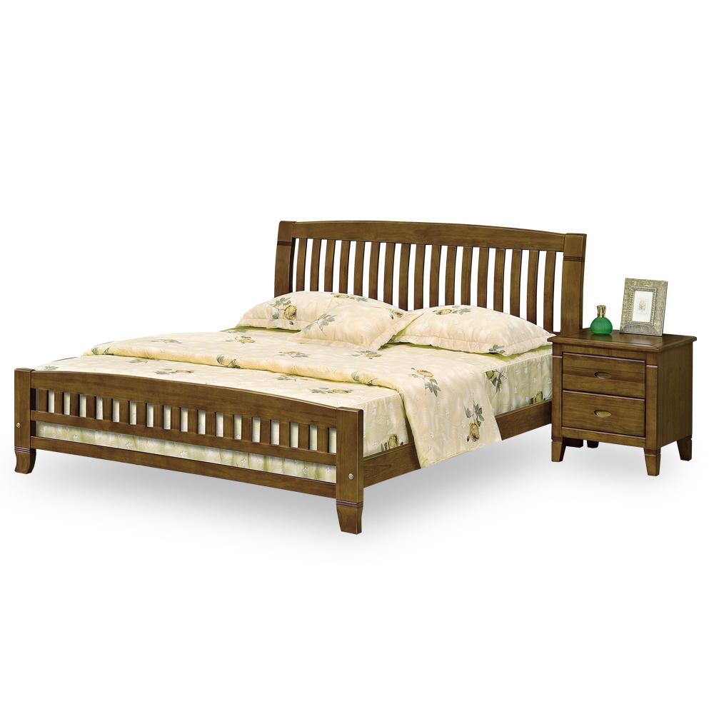 時尚屋 達爾文黃檀實木5尺雙人床(不含床頭櫃-床墊)