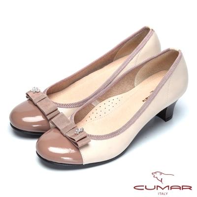 CUMAR粉領甜心-緞帶蝴蝶結真皮高跟鞋-芋粉