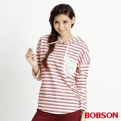BOBSON 女款條紋連帽長袖上衣(白81)