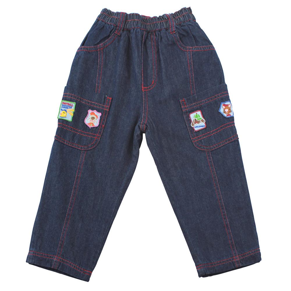 愛的世界 MYBEAR 純棉鬆緊帶圖標牛仔長褲/2歲-中國製-