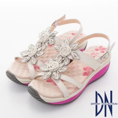 DN 花漾輕履 真皮立體花朵厚底涼鞋-白