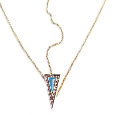 House of Harlow 1960 三角形土耳其藍石 鑲白水晶 金色頭飾