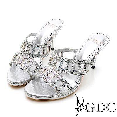 GDC-特殊方孔水鑽性感閃耀低跟拖鞋-銀色