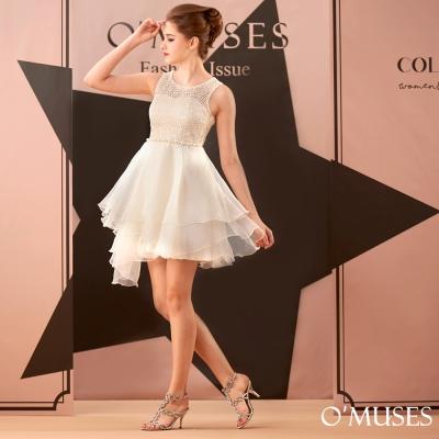 蕾絲珍珠伴娘短禮服-OMUSES