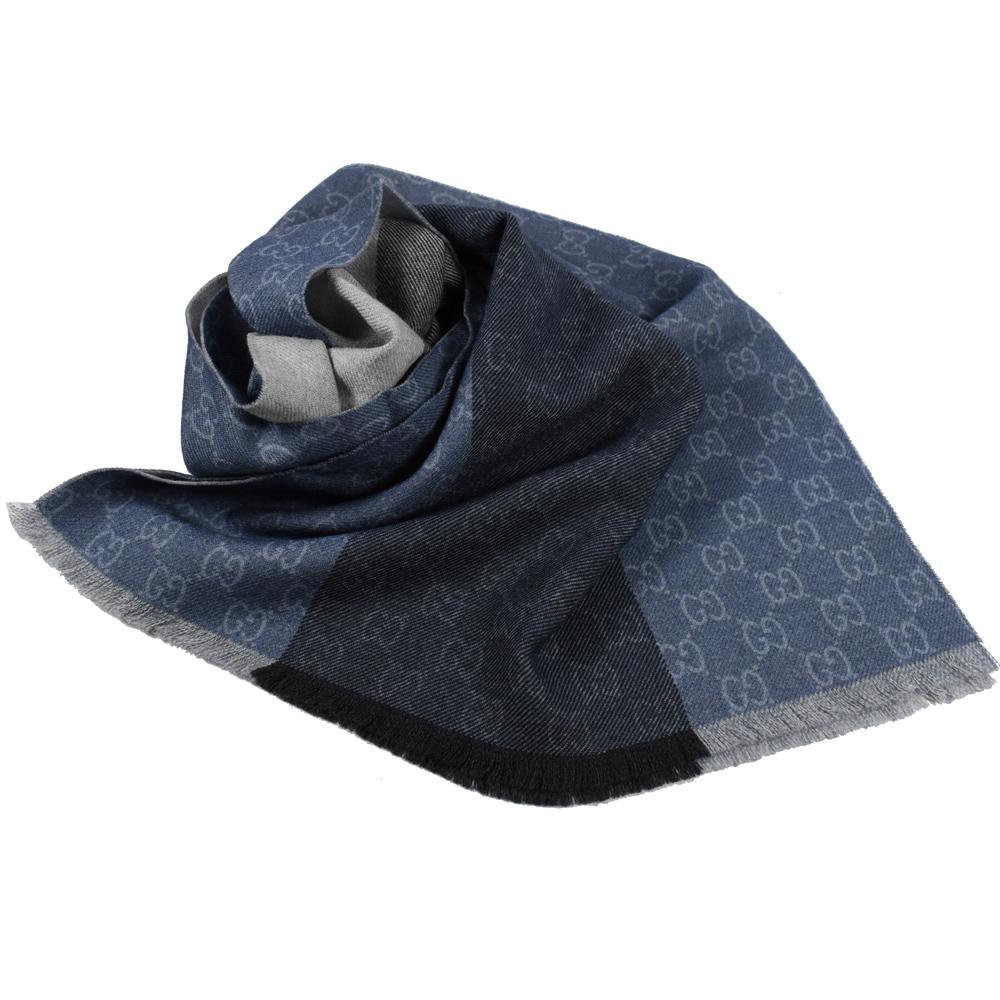 GUCCI 經典G LOGO雙色款造型圍巾/披肩(深藍)GUCCI