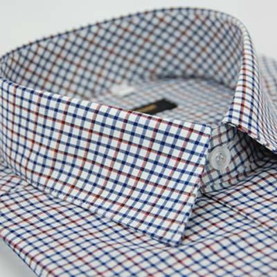 金‧安德森 白底紅黑藍相間方格窄版長袖襯衫